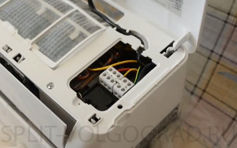 Расключение внутреннего блока по электрике